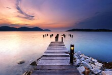 Sunset Over The Wooden Jetty In Marina Island, Pangkor