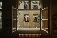 View Of Building Seen Through Window