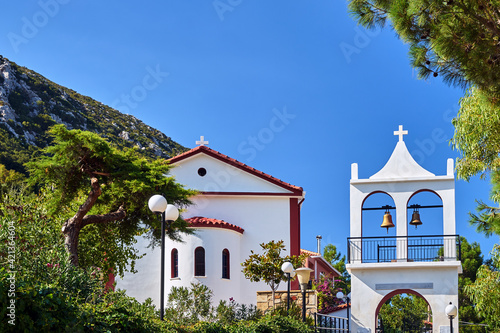 Canvas Orthodox church with a belfry on the island of Kefalonia