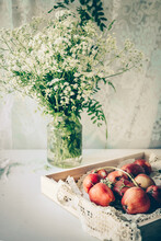 Fresh Apples And Field Flowers