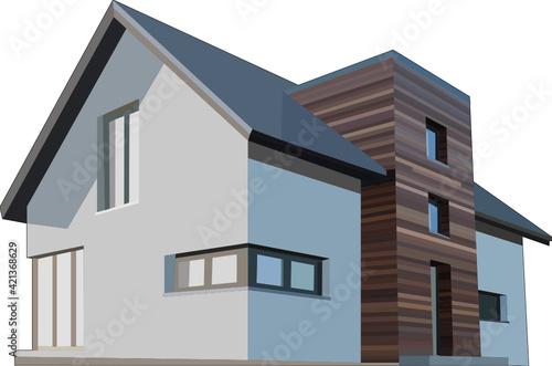 Fototapeta Elewacja z egzotycznego drewna na budynku obraz