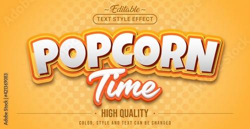 Fototapeta Editable text style effect - Popcorn Time text style theme. obraz