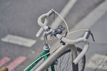 High Angle View Of A Green Racing Bicycle On Street In London.