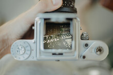Close-up Of Person Using Camera