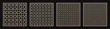 Laser Cut Panel Set. Vector Templates With Geometric Pattern In Oriental Style, Circular Grid, Mesh, Lattice. Decorative Stencil For Laser Cutting Of Wood, Metal, Plastic, Acrylic. Aspect Ratio 1:1