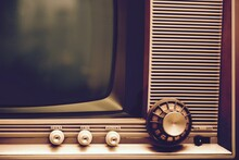 Close-up Of Vintage Television On Table