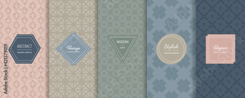 Fototapeta Vector seamless patterns collection. Set of abstract geometric textures in trendy pastel colors, powdery, green, blue. Elegant modern minimal labels. Design template for decor, print, banner, ads obraz