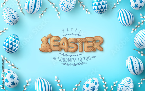 Obraz Easter poster and banner template with Easter eggs and Cute bunny and letters Biscuit on light green background.Greetings and presents for Easter Day in flat lay styling.Banner template for Easter day - fototapety do salonu