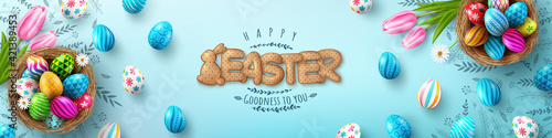 Obraz Easter Poster And Flyer Template with Easter eggs in the nest and Font of cracker biscuits on bule background.Greetings and presents for Easter Day in flat lay styling.banner template for Easter day - fototapety do salonu