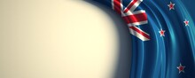 New Zealand Flag. 3d Illustration Of The Waving National Flag With A Copy Space. Oceania, South Pacific Country Flag.
