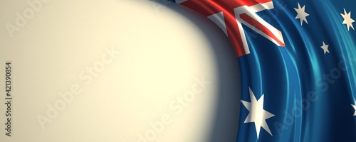 Fototapeta Australia Flag. 3d illustration of the waving national flag with a copy space. Oceania, South pacific country flag. obraz