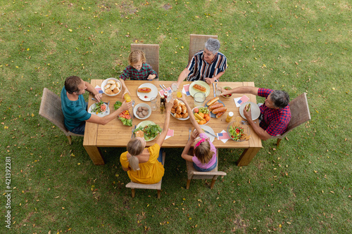 Overhead view of caucasian three generation family at table eating meal in garden making a toast