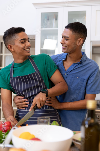 Diverse gay male couple spending time in kitchen embracing and smiling
