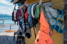 Life Jackets Or Life Preservers Drying Out In A Sunny Day.