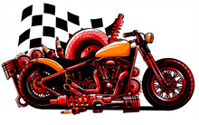 Vector Motorcycle With Spares And Race Flag