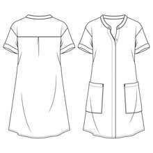 Women Shirt Dress With Mandarin Collar Flat Fashion Sketch Template. Technical Fashion Illustration. Hidden Placket Blouse. Large Pockets