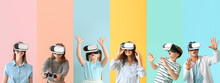 Different People With Virtual Reality Glasses On Color Background