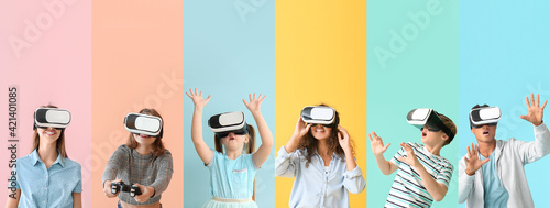 Obraz Different people with virtual reality glasses on color background - fototapety do salonu