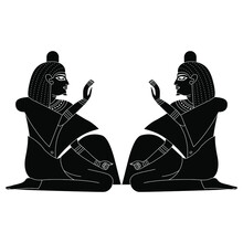 Symmetrical Design With Two Seated Ancient Egyptian Men Or Pharaohs. Blessing Gesture. Black And White Silhouette.