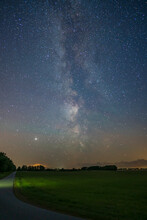 View Of Milky Way Over A Field