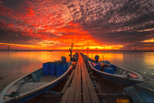 Golden Orange Sunset Over The Jetty At Kota Tinggi, Johore