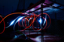 Light Trails On Illuminated City At Night