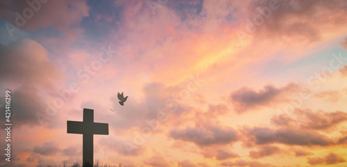 Canvas Silhouette jesus christ crucifix on cross on calvary sunset background concept for good friday he is risen in easter day, good friday worship in God, Christian praying in holy spirit religious