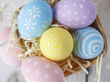 Close Up Of Easter Eggs In Basket