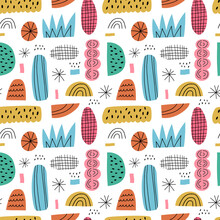 Cartoon Abstract Seamless Pattern. Hand Drawn Irregular Shapes With Dots, Stripes And Lines Isolated On White Background. Doodle Figures And Sketchy Drawings. Fun Multicolored Geometric Textile Design