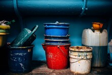 Plastic Buckets In A Still Life Scene