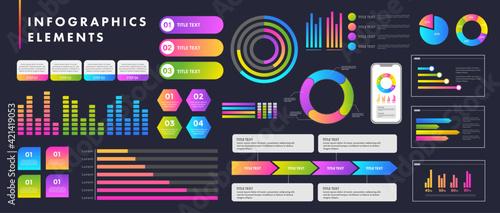 インフォグラフィックデザビジネスシーンで役に立つインフォグラフィック、いろいろなグラフのベクターイラスト、ピクトグラムやアイコンのセットイン