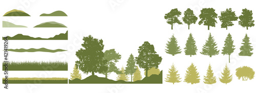Fototapeta Spring season, constructor kit of trees, grass, hill. Beautiful silhouettes of spruce and pine and coniferous trees and birch, etc. Set of design elements. Vector illustration. obraz