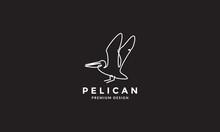 Single Lines Art Bird Pelican Fly Logo Vector Symbol Icon Design Illustration