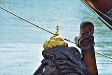 Close-up Of Rope Tying The Tall Ship To The Harbour