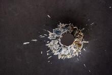 High Angle View Of Hole On Metal