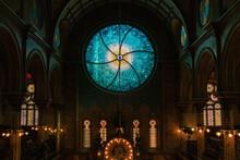 Illuminated Stained Glass Window