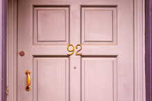 House Number 92 On A Wooden Front Door In London