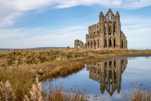 Reflection Of Whitby Abbey On Water