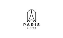 Monolines Eiffel Paris Tower Logo Vector Symbol Icon Design Illustration