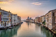 The Famous Grand Canal In Venice, Italy, At Sunrise