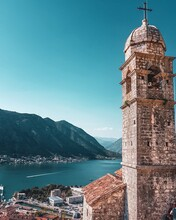 View Of Kotor From Church Of Our Lady Of Remedy In A Sunny Day.