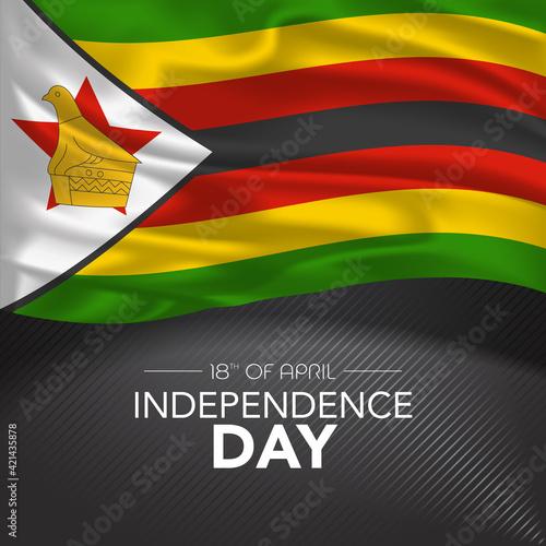 Fototapeta Zimbabwe happy independence day greeting card, banner, vector illustration