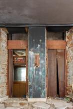 Interior Of Old Abandoned Building Elevators