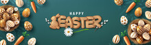 Easter Poster And Banner Template With Golden Easter Eggs In The Nest And Font Of Cracker Biscuits On Blackboard.Greetings And Presents For Easter Day In Flat Lay Styling.Banner Template For Easter
