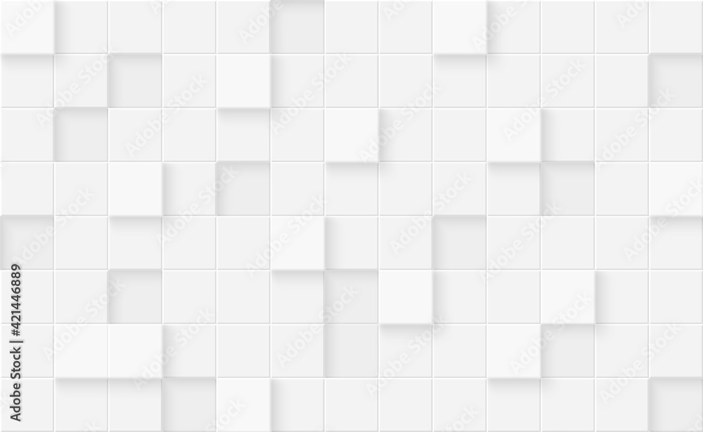 Fototapeta 3d seamless cubes pattern. White ceramic tile background. Abstract square mosaic.