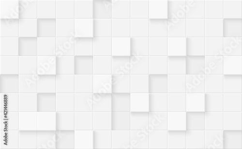 Fototapeta 3d seamless cubes pattern. White ceramic tile background. Abstract square mosaic. obraz