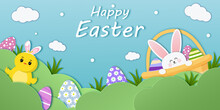 Easter Banner Template With Easter Eggs, Basket, Chicken, Bunny On Light Background. Holiday Greeting For Easter Day In Paper Cut Style. Vector Illustration.