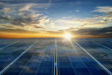 Photovoltaic Cells On The Sunset.solar Cell Clean Energy Environmentally Friendly.solar Panels