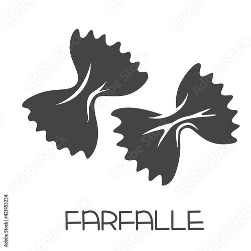 Fototapeta Farfalle pasta glyph icon. Italian cuisine cut monochrome badge.. Retro style vector illustration. obraz