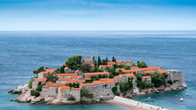 Old Buildings On Small Island In Montenegro